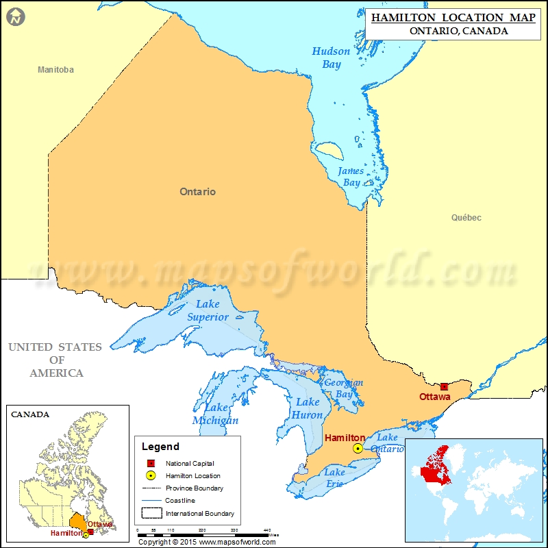 Where is Hamilton Located in Canada Map