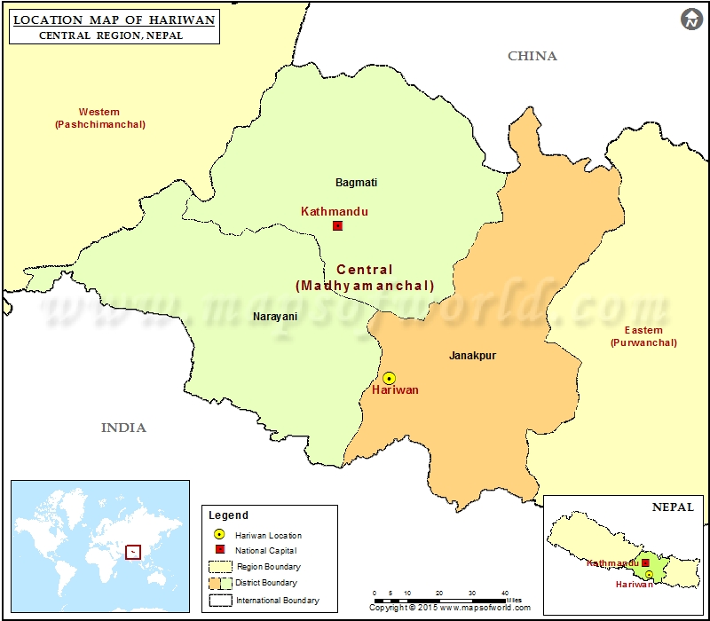 Location of Hariwan  in Nepal  Map
