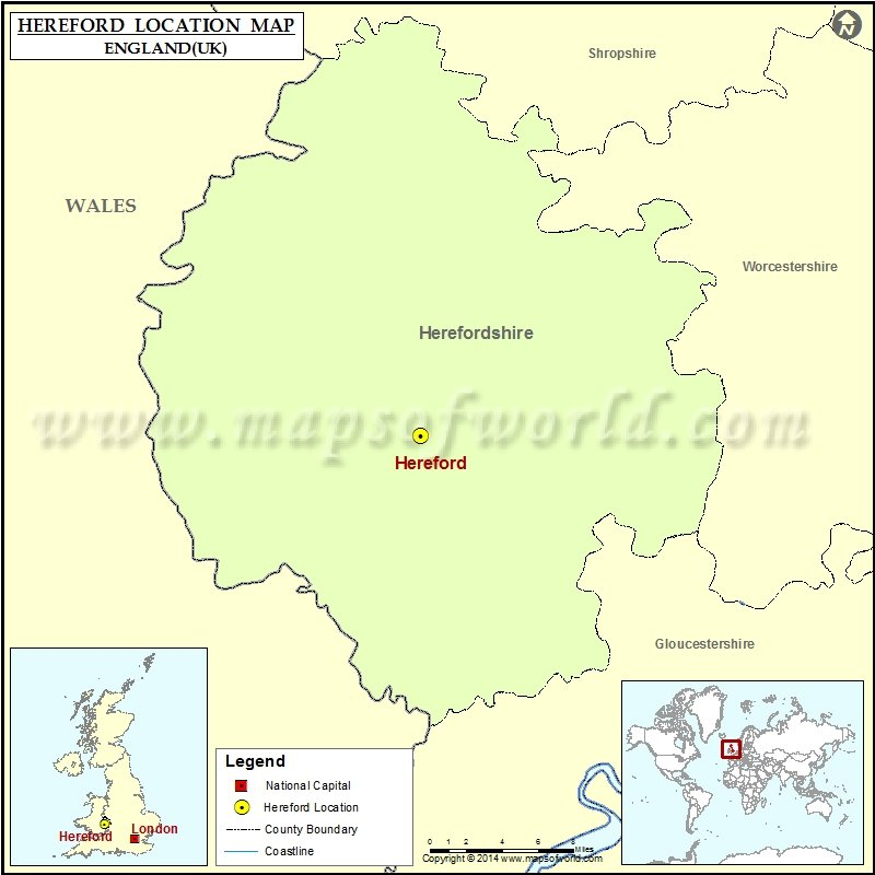 Where is Hereford Location of Hereford in England Map
