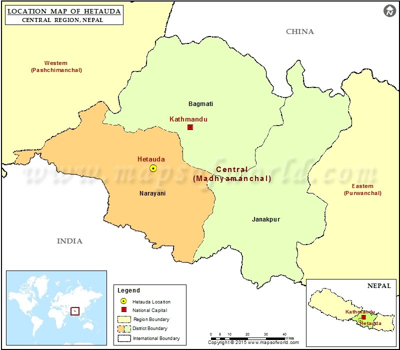 Location of Hetauda in Nepal Map