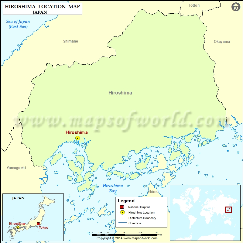 Where is Hiroshima | Location of Hiroshima in Japan Map