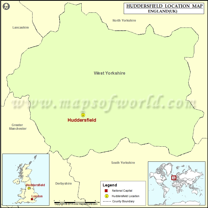 Where is Huddersfield Location of Huddersfield in England Map