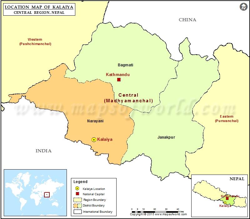 Location of Kalaiya in Nepal Map