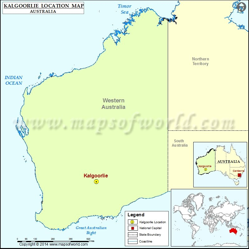 Where is Kalgoorlie Location of Kalgoorlie in Australia Map