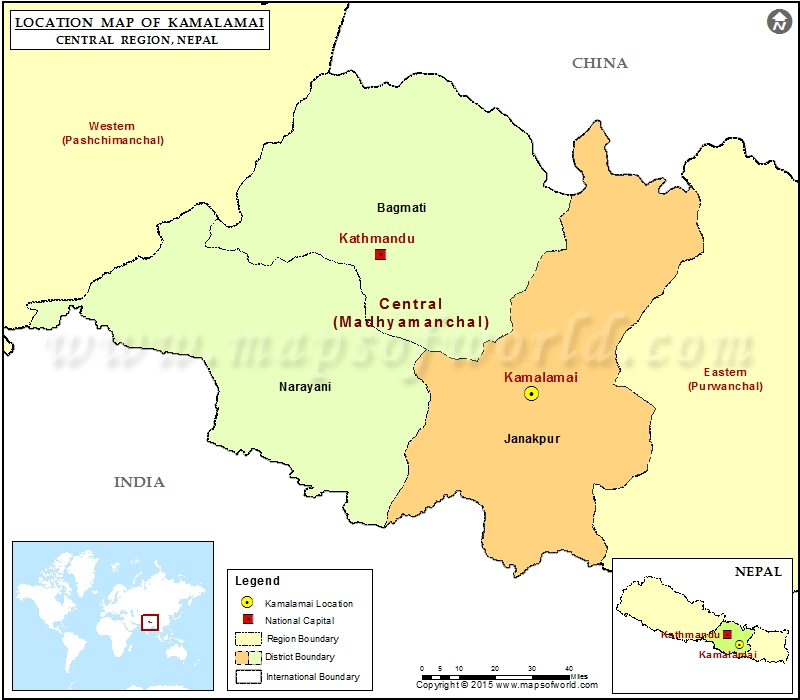 Location of Kamalamai  in Nepal  Map