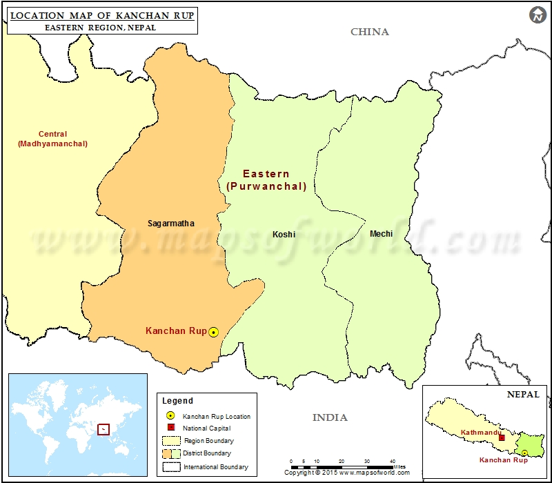 Location of Kanchan Rup in Nepal Map