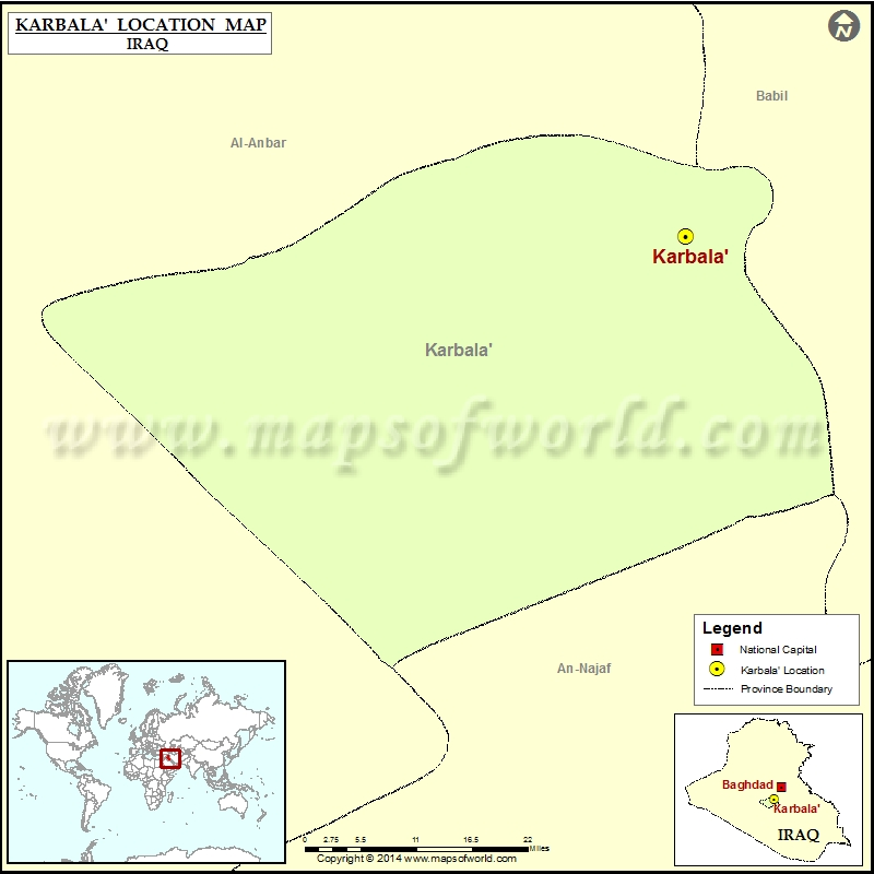 Where is Karbala Location of Karbala in Iraq Map