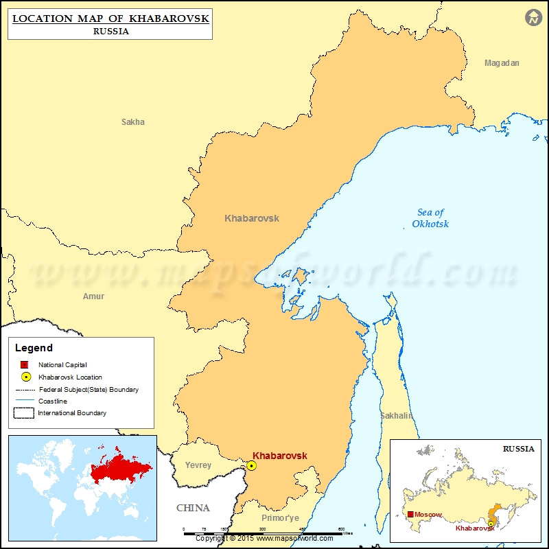 Where is Khabarovsk Location of Khabarovsk in Russia Map