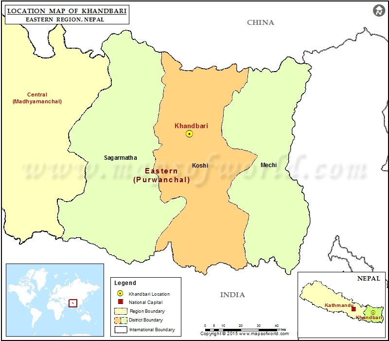 Location of Khandbari in Nepal Map
