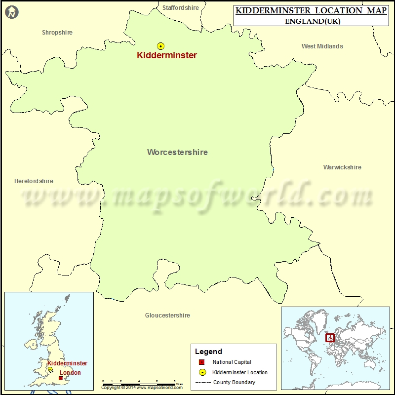Where is Kidderminster Location of Kidderminster in England Map