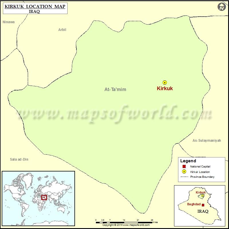Where is Kirkuk Location of Kirkuk in Iraq Map