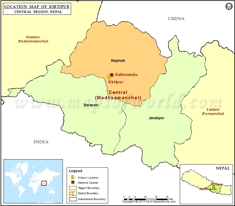 Location of Kirtipur in Nepal  Map