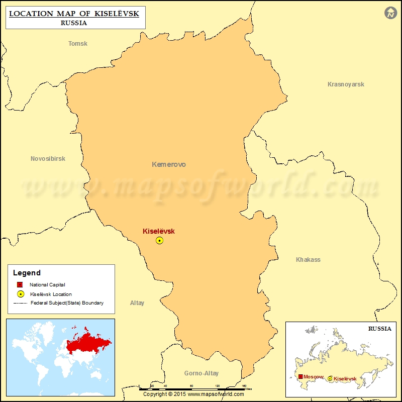 Where is Kiselevsk Location of Kiselevsk in Russia Map