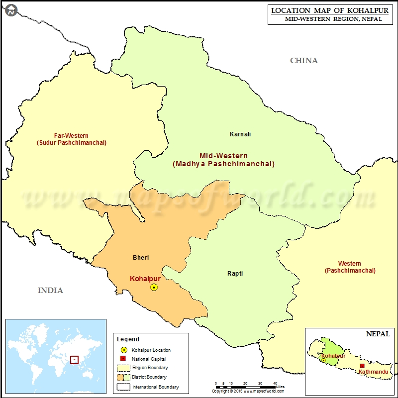 Location of Kohalpur in Nepal Map