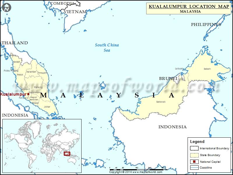 Where is Kuala Lumpur Location of Kuala Lumpur in MalaysiaMap