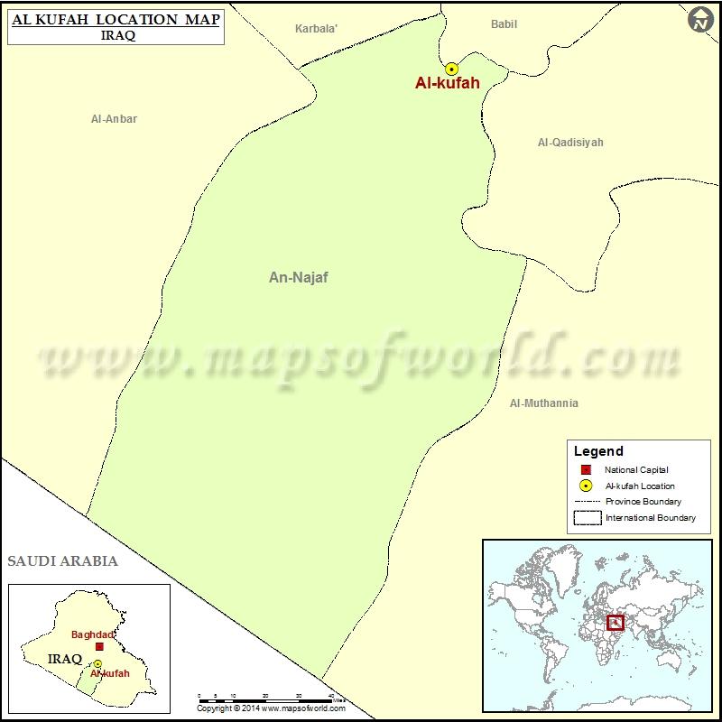 Where is Kufa Location of Kufa in Iraq Map