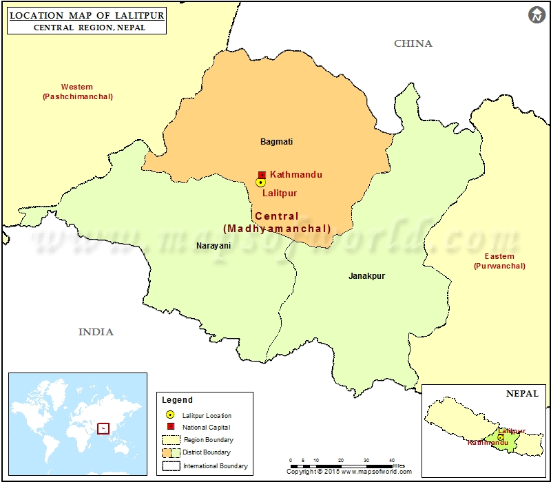 Location of Lalitpur in Nepal  Map