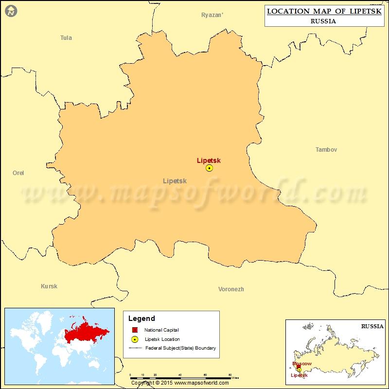 Where is Lipetsk Location of Lipetsk in Russia Map