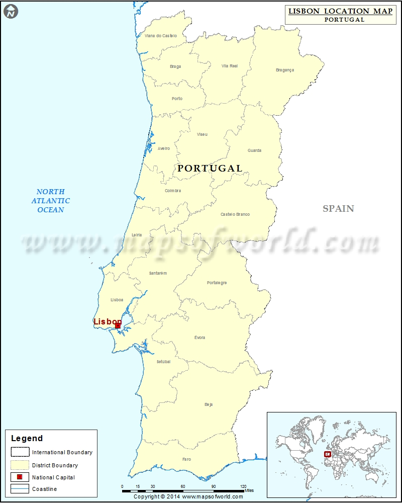 Where Is Lisbon Location Of Lisbon In Portugal Map - Portugal map lisbon area