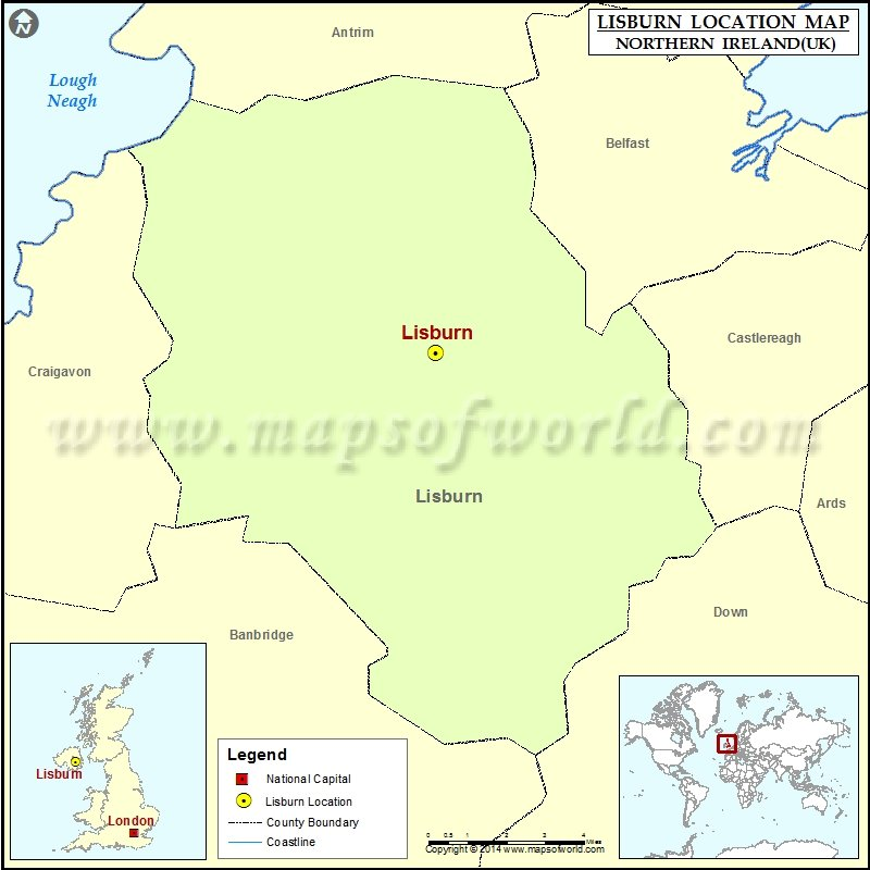 Where is Lisburn Location of Lisburn in Northern Ireland Map