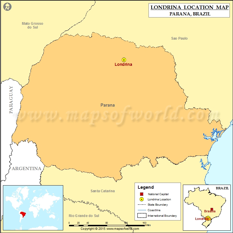 Where Is Londrina Location Of Londrina In Brazil Map - Londrina map