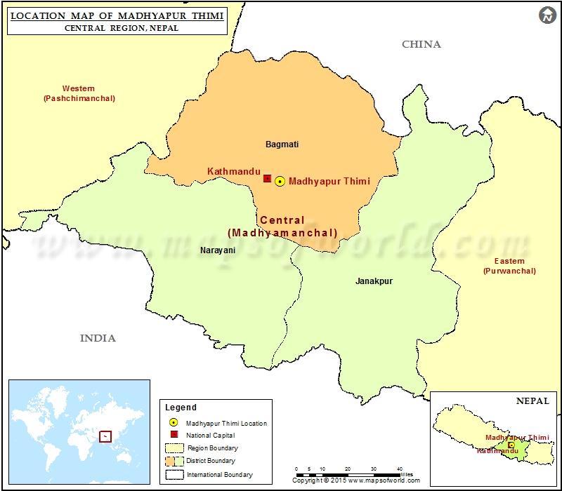 Location of Madhyapur Thimi in Nepal  Map