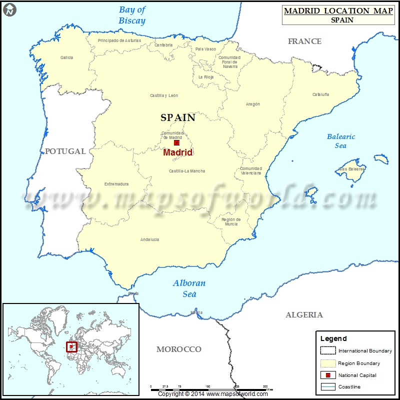 Where is Madrid Location of Madrid in Spain Map