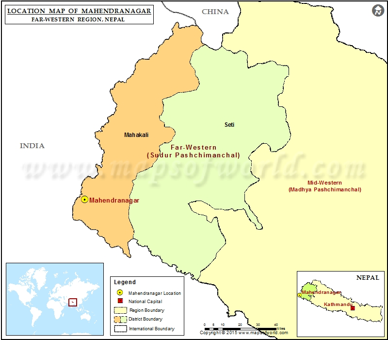 Location of Mahendranagar in Nepal Map