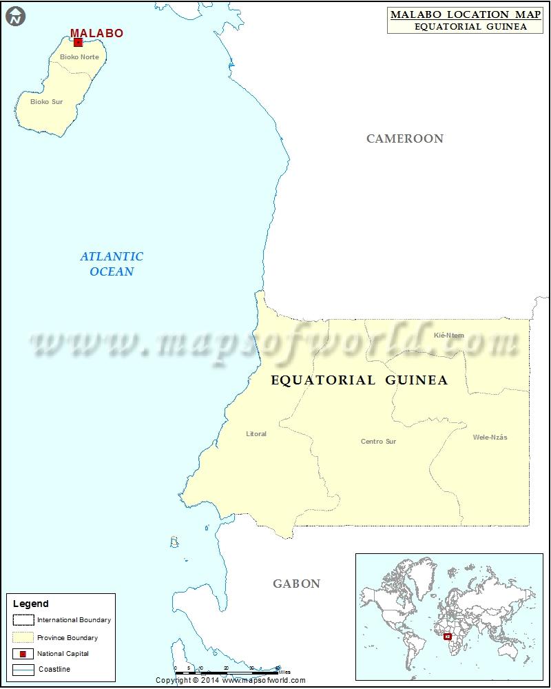 Where is Malabo Location of Malabo in Equatorial Guinea Map