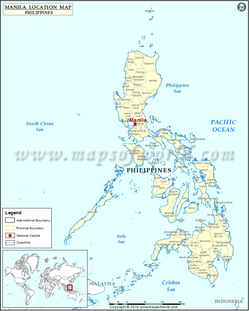 Where is Manila  Location of Manila in Philippines Map