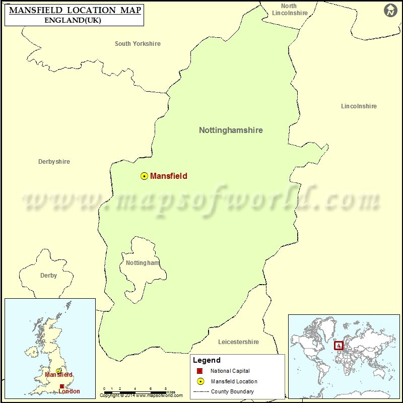 Where is Mansfield Location of Mansfield in England Map