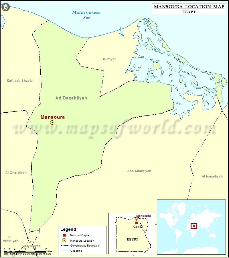 Where is Mansoura Location of Mansoura in Egypt Map