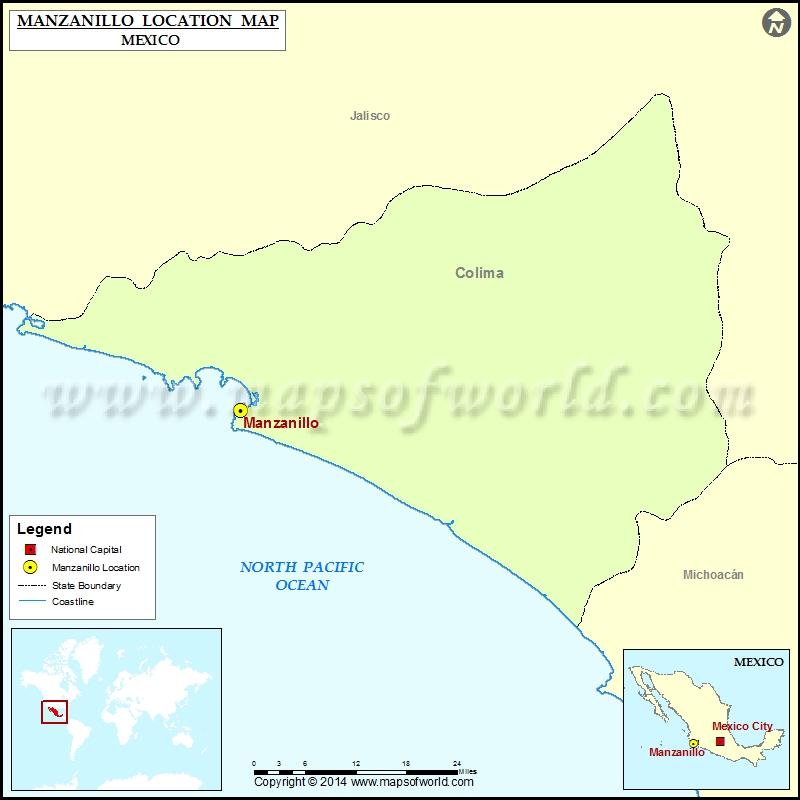 Where Is Manzanillo Location Of Manzanillo In Mexico Map