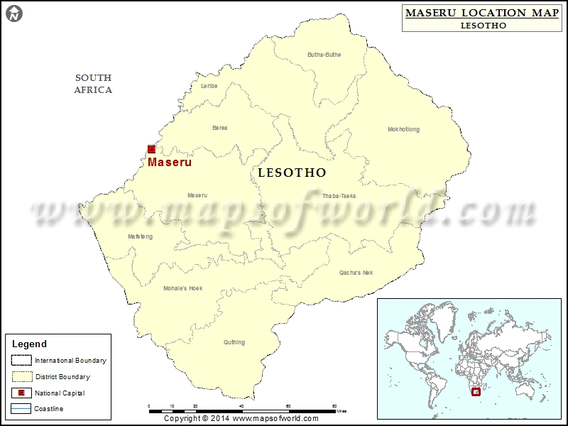 Where is Maseru Location of Maseru in Lesotho Map