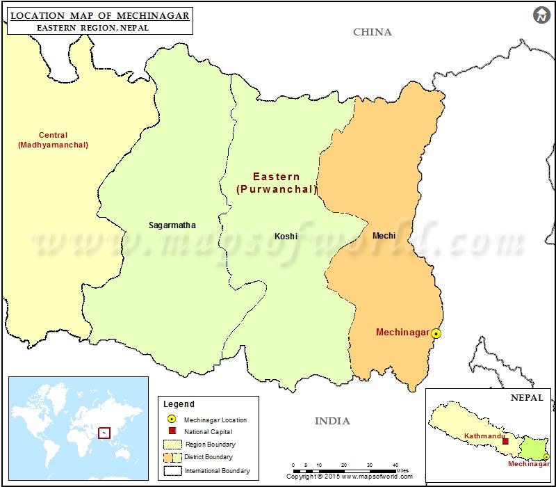 Location of Mechinagar in Nepal Map