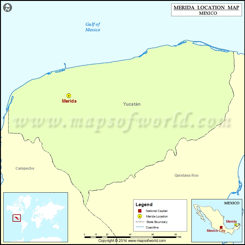 Where is Merida Location of Merida in Mexico Map
