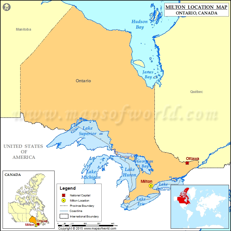 Where is Milton Located in Canada Map