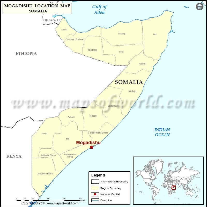 Where is Mogadishu Location of Mogadishu in Somalia Map