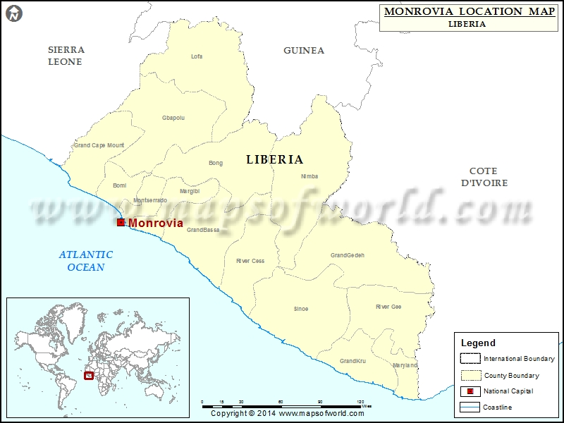 Where is Monrovia | Location of Monrovia in Liberia Map