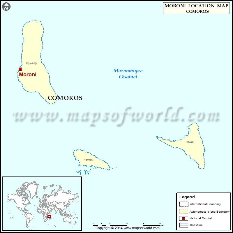 Where is Moroni Location of Moroni in Comoros Map
