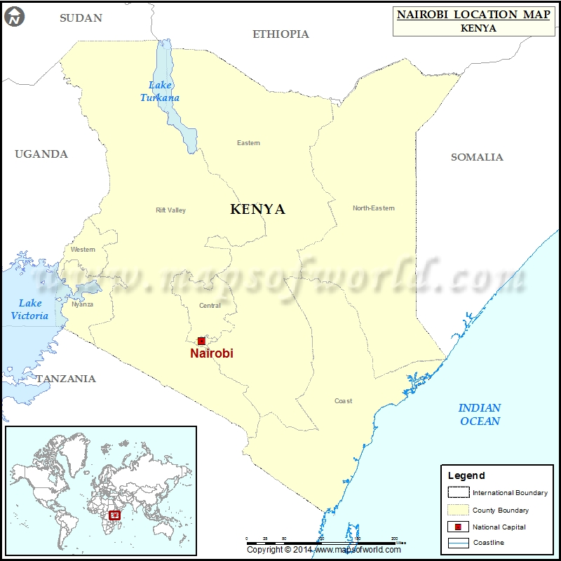 Example Site Map Location: Location Of Nairobi In Kenya Map