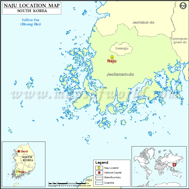 Where is Naju Location of Naju in South Korea Map