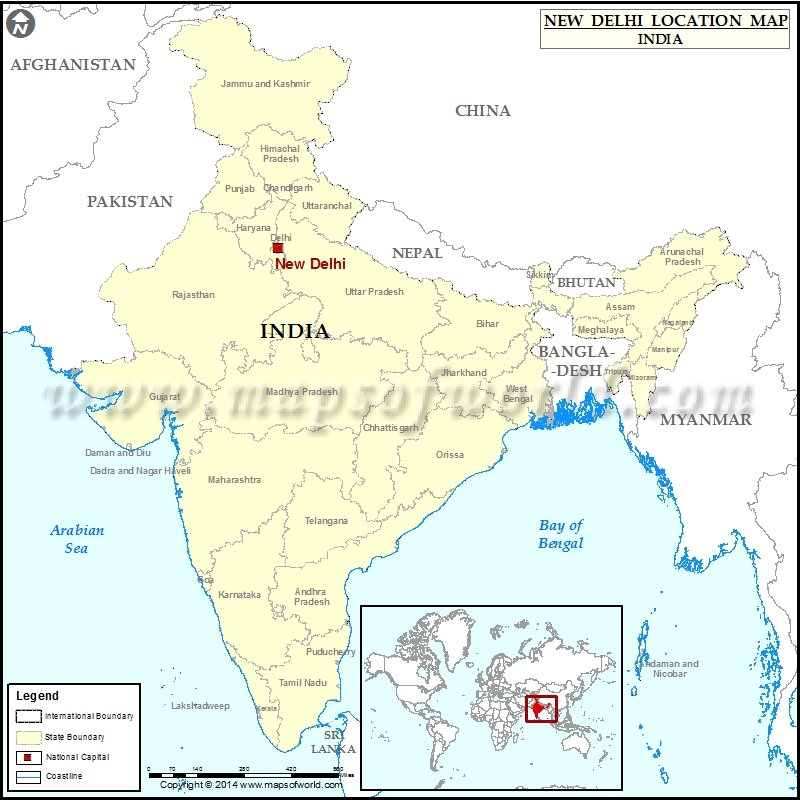 New Delhi India Map Where is New Delhi | Location of New Delhi in India Map