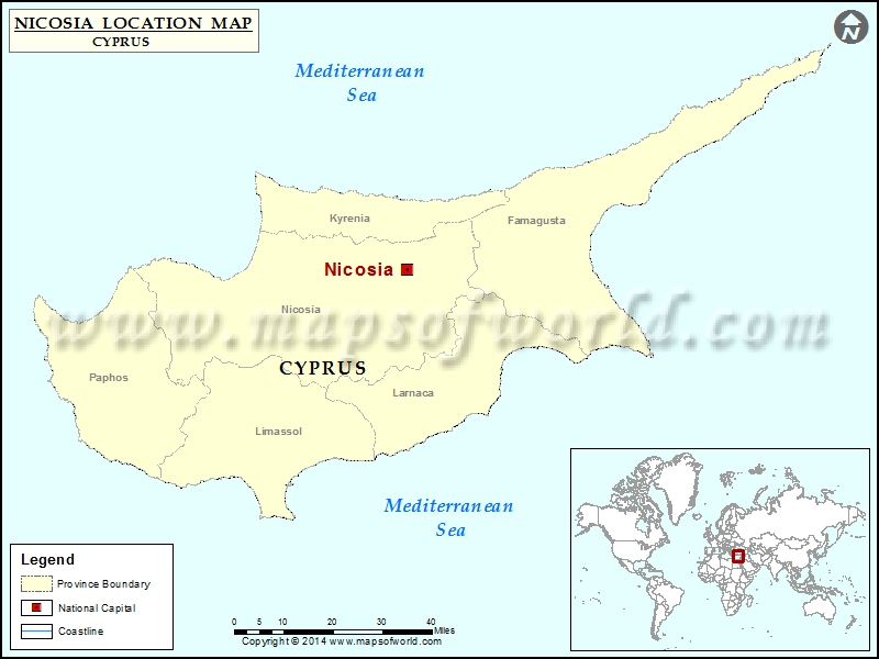 Where Is Nicosia Location Of Nicosia In Cyprus Map