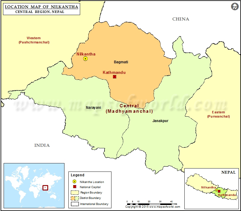 Location of Nilkantha  in Nepal  Map
