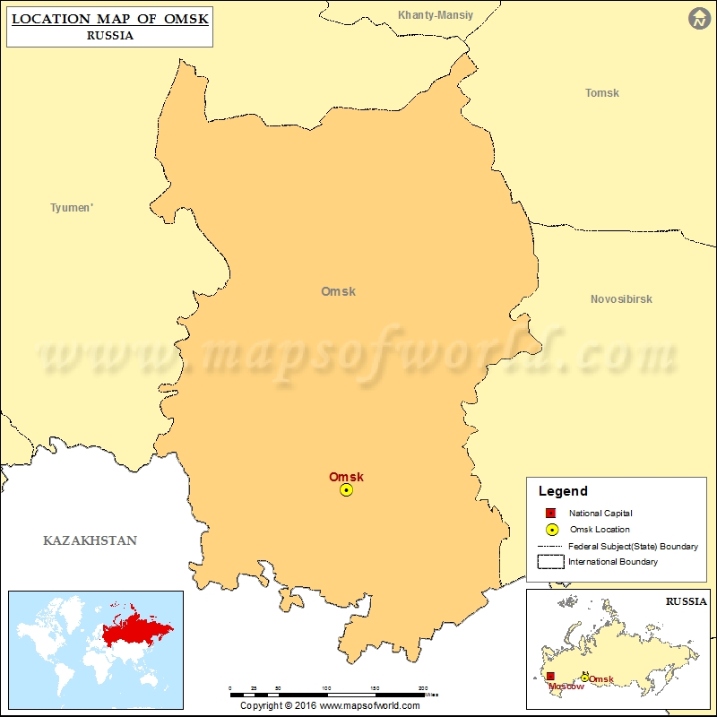 Where is Omsk Location of Omsk in Russia Map