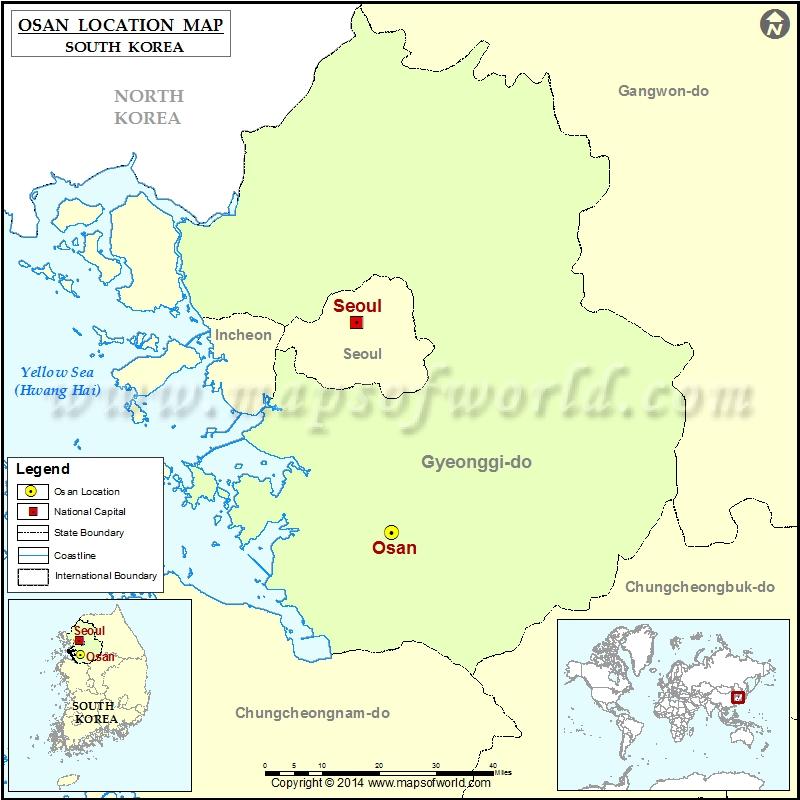 Osan South Korea Map.Where Is Osan Location Of Osan In South Korea Map