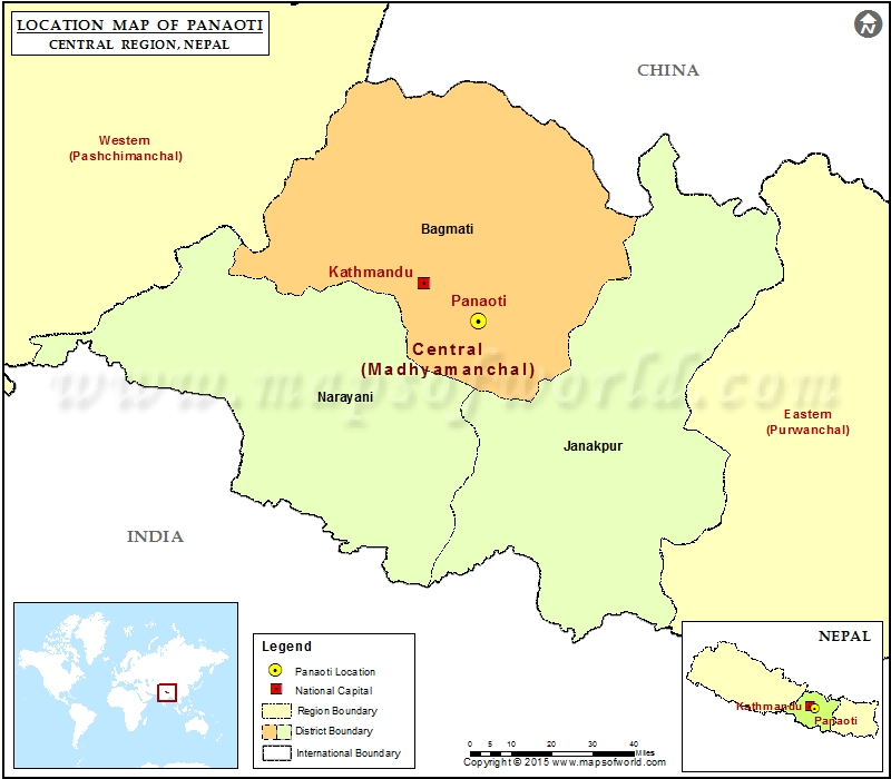 Location of Panaoti  in Nepal  Map