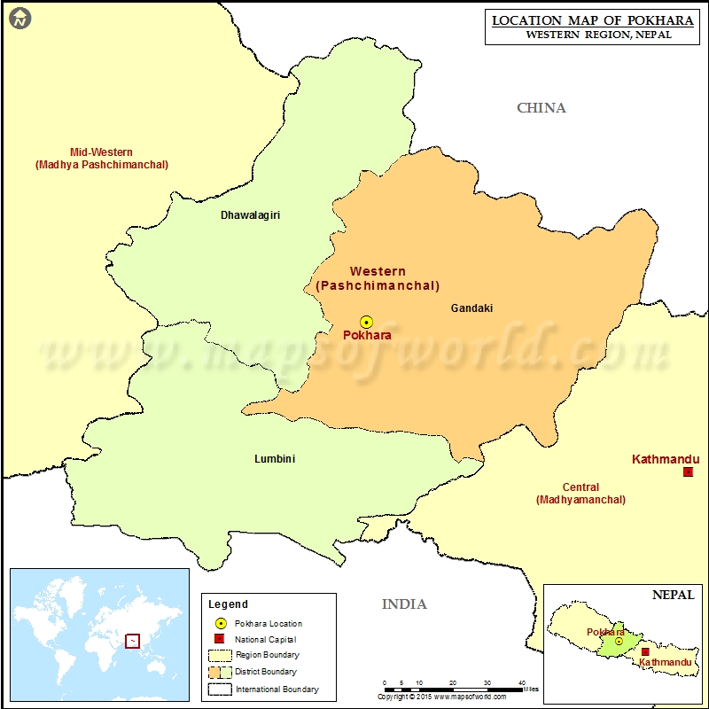 Location of Pokhara in Nepal Map