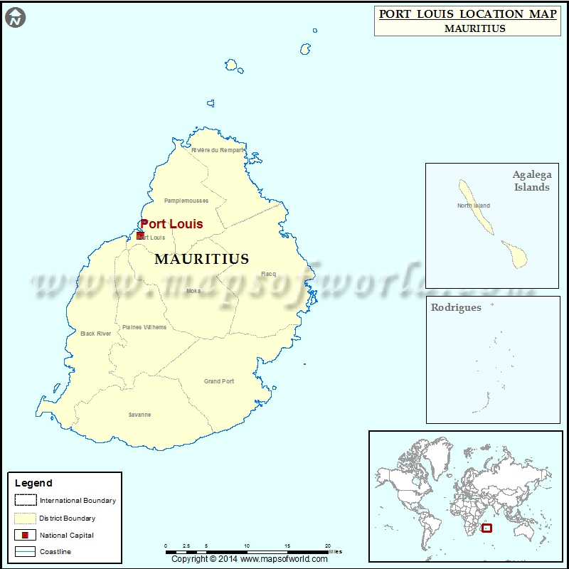 Where Is Port Louis Location Of Port Louis In Mauritius Map - Mauritius location in world map